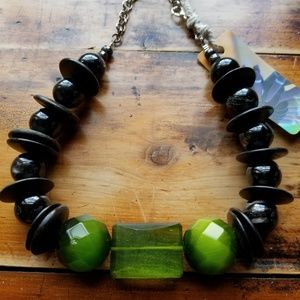 Jewelry - Green Goldstone, Cat's Eye & Vtg Wood Necklace